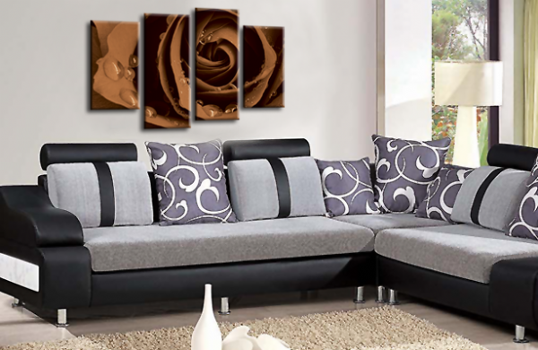 Flower Rose Wall Art Floral Picture Print Grey Brown White